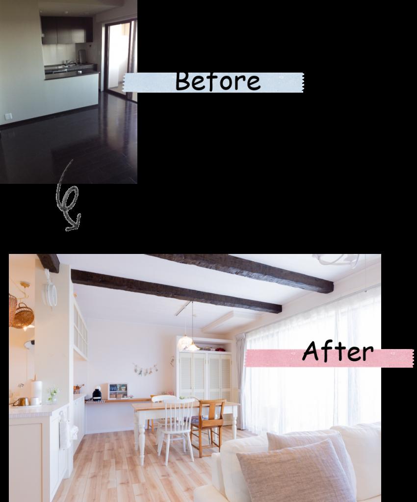 キッチンを移動して 床材も張り替えて 広くて明るいLDKになりました。