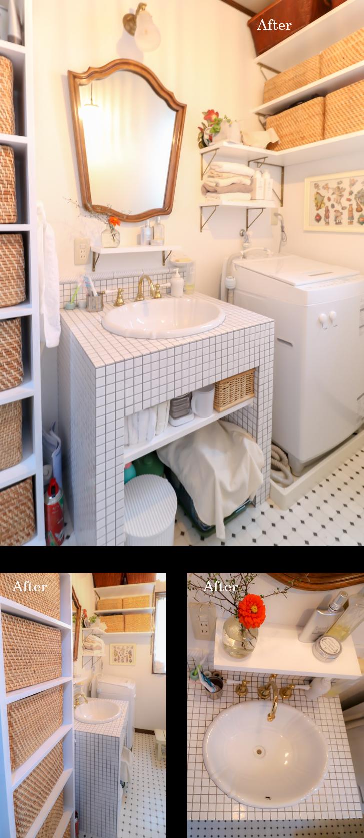 洗面所 リノベーション タイル 収納スペース